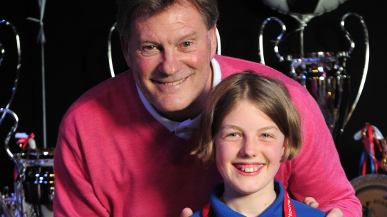 Glen Hoddle with a girl football player